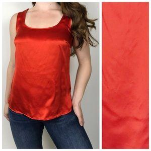 TALBOTS 100% Silk Orange Red Tank Top Size 4